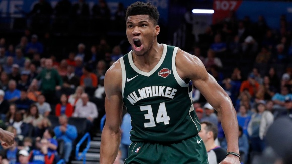 Nov 10, 2019; Oklahoma City, OK, USA; Milwaukee Bucks forward Giannis Antetokounmpo (34) celebrates after a basket against the Oklahoma City Thunder during the second half at Chesapeake Energy Arena. Milwaukee won 121-119. Mandatory Credit: Alonzo Adams-USA TODAY Sports